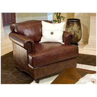 Mansfield 2 Piece Set Top Grain Leather Accent Chairs in Raisin   Leather Club Chairs