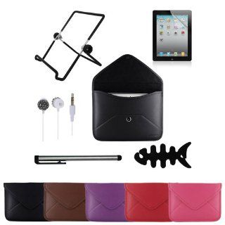 Skque® 6 Items Bundle  Black Envelope Style Leather Sleeve Cover Case + Anti clear Screen Protector + Multi Angle Holder Stand + Touch Screen Stylus Pen + 3.5mm Crystal Rhinestone Earphone Headset + Earbuds Holder for Apple iPad 2 / iPad 3 / iPad 4 wit