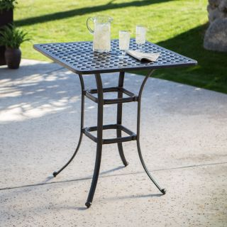 Palazetto Milan Collection Cast Aluminum Square Bar Table   Patio Tables
