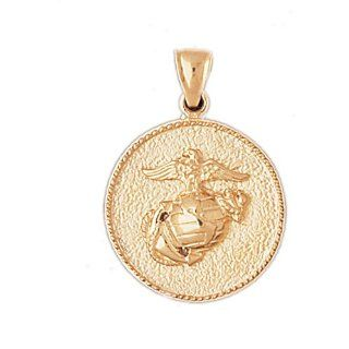 14K Yellow Gold Marine Corps Logo Pendant Jewelry