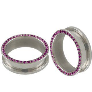 "1 3/16"" inch (30mm)   316L Surgical Stainless Steel screw fit Flesh Tunnels Ear Large Gauge Plugs with amethyst Swarovski Crystal ADER   Ear stretched Stretching Expanders Stretchers   Pierced Body Piercing Jewelry   Sold as a Pair Jewelry"