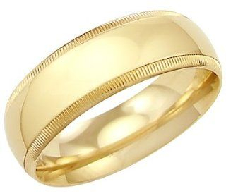 14k Solid Yellow Gold Milgrain Wedding Heavy Ring Band 8MM   Size 8   7.9 Grams Jewelry
