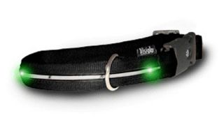 Black Nylon Dog Collars with Green LEDs   Accessories