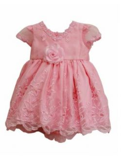Elegant Baby Girl Pink Dress & Hat. Available in 12, 18, 24, 36 Months Infant And Toddler Special Occasion Dresses Clothing