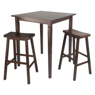 Winsome Kingsgate 3 Piece Pub Table Set with Saddle Stools   Pub Tables
