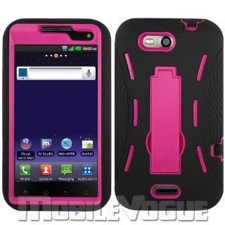 Reiko SLCPC06 LGMS840BKHPK Premium Durable Hybrid Combo Case with Kickstand for LG Connect 4G (MS840)   1 Pack   Retail Packaging   Black/Hot Pink Cell Phones & Accessories