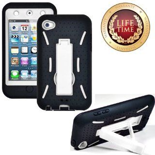 myLife (TM) Black + Ivory White Tough Series (Body Armor Defender Glove) Case for iPod 4/4S (4G) 4th Generation iTouch (Built In Kickstand + Thick Silicone Outer Gel and Tough Rubberized Internal Shell + myLife (TM) Lifetime Warranty + Sealed In myLife Bra