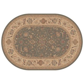 Dynamic Rugs Ancient Garden Collection Oval Hearth Rug Mint Floral   Hearth Rugs