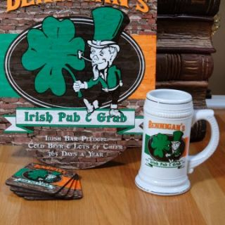 Personalized Irish Pub and Grub Stein with Sign and Coasters