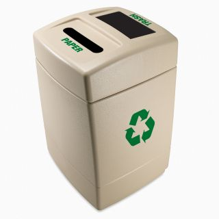 Commercial Zone Recycle55 Paper/Trash 27.5 Gallon Pearl Recycling Bin   Recycling Bins