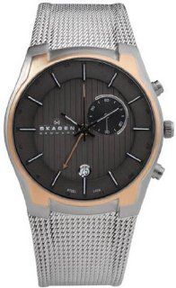 Men Skagen 853XLSRM Rose Two Tone Stainless Steel Quartz GMT Black Dial Mesh Watches