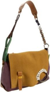 Isaac Mizrahi Multi Leather Shoulder Bag,Green,one size Shoes