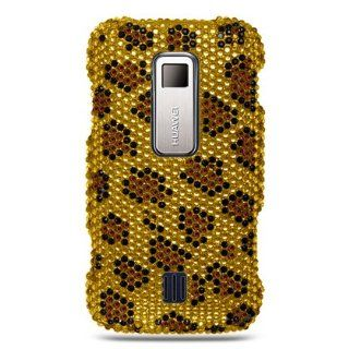 Full Diamond Rhinestone Gold Leopard Premium Design Snap On Hard Cover Case for Huawei Ascend M860 + Luxmo Brand Car Charger Cell Phones & Accessories