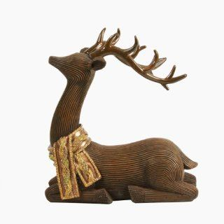 "7"" Brown Posed Reindeer with Glitter Scarf Christmas Table Top Piece Decoration"