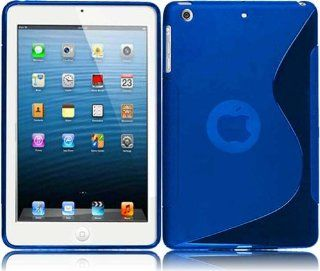 For Ipad Mini S Shape TPU Cover Case Blue Cell Phones & Accessories
