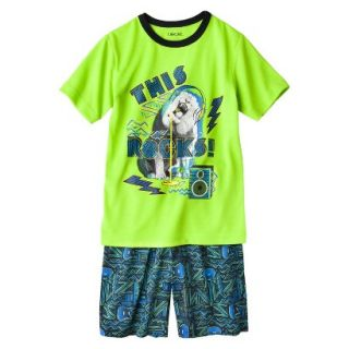 Cherokee Boys 2 Piece Lion Short Sleeve Tee and Short Pajama Set   Lime XS