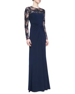Womens Long Sleeve Lace Sequin Gown, Navy   David Meister