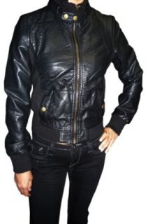 Black Faux Leather Ribbed Bomber Jacket, small