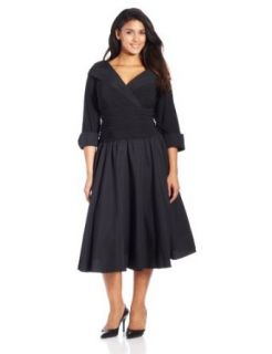 Jessica Howard Women's Plus Size 3/4 Sleeve Collared Flare Dress, Black, 14W