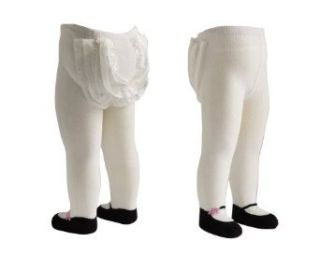 JazzyToes Mary Jane Lacy Baby Tights, White/Pink Flower Clothing
