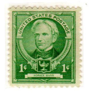 Postage Stamps United States. One Single 1 Cent Bright Blue Green, Famous Americans Issue, Educators, Horace Mann Stamp Dated 1940, Scott #869.