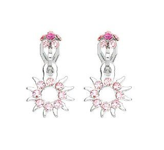 Perfect Gift   High Quality Elegant Sun Shape Non Piercing Earrings with Pink Swarovski Crystals (870) Glamorousky Jewelry