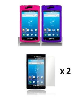Samsung Captivate i897 (Galaxy S)   2 Hard Rubberized Cases (Hot Pink, Purple) / 2 Screen Protectors Cell Phones & Accessories