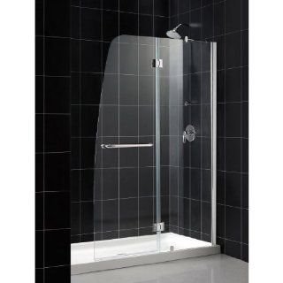 DreamLine DL 6502R 01CL Aqua Frameless Hinged Shower Door and SlimLine 34 Inch by 60 Inch Single Threshold Shower Base Right Hand Drain