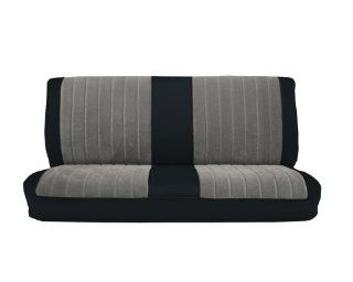 Acme U1001 898L Front Black Vinyl Bench Seat Upholstery with Silver Regal Velour Pleated Inserts Automotive