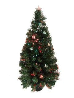 4' Pre Lit Color Changing Lighted Fiber Optic Artificial Christmas Tree w/ Stars