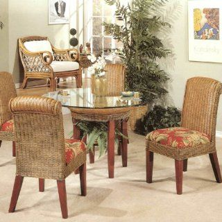 Panama Rattan Wicker Dining Chair Table 5 Piece Set Home & Kitchen