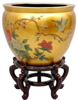 Oriental Furniture Japanese Chinese Asian Oriental Interior Design and Decor 16 Inch Ming Porcelain Jardini�re Fishbowl Planter Pottery with Gold Leaf   Decorative Bowls