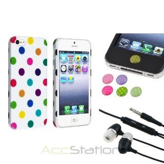 NEW YEAR  Bargain 2014 deal Dot Button Sticker+Design White POLKA DOTS Case FOR iPhone 5S 5 5G+Black Headset PlEASE CHOOSE 1 COLOR Cell Phones & Accessories
