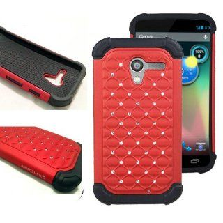Slim Back Rugged Hybrid Rhinestone Lattice Bling Cover Case for Google Motorola Moto X (Red) Cell Phones & Accessories