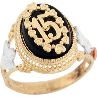 14k Two Tone Gold Quinceanera 15 Anos Angel Rose Flower Filigree Onyx Ring Jewelry