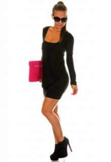 Sexy Tulip Mini Dress Bubble Pleated Stretch Tunic Top Long Sleeve 884 Square Neck Dress