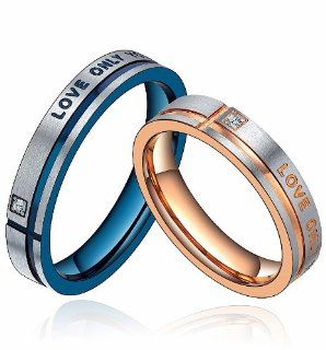 "Stainless Steel ""Love Only You"" W. CZ 4mm Engagement Wedding Band Promise Ring Mens (Blue and Silver Color) G5039n907A Jewelry"