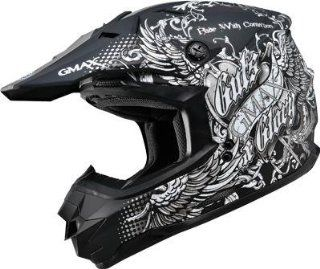 G Max GM76X Conviction Helmet , Distinct Name Flat Black/Silver, Gender Mens/Unisex, Helmet Category Offroad, Helmet Type Offroad Helmets, Primary Color Black, Size Lg G3765456 TC 17 Automotive