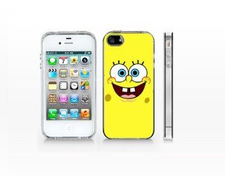 PGP4 223   Face Spongebob 01, 2D Printted Clear case, Iphone 4 Case, Iphone 4 Cell Phones & Accessories