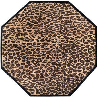8' African Leopard Safari Tan & Golden Brown Wool Octagon Shaped Area Throw Rug   Hand Tufted Rugs