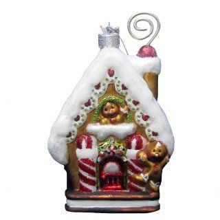 Kurt Adler Noble Gems Gingerbread House Ornament, 5.375 Inch   Decorative Hanging Ornaments