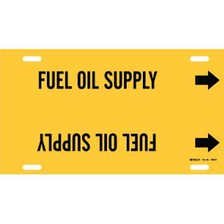 "Brady 4065 H Brady Strap On Pipe Marker, B 915, Black On Yellow Printed Plastic Sheet, Legend ""Fuel Oil Supply"" Industrial Pipe Markers"