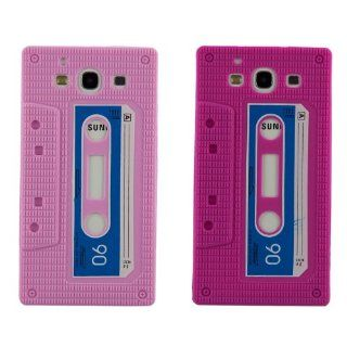 2 *Soft Silicone Cassette Tape Style Cover For Samsung Galaxy S3 S III i9300,Pink + Magenta Cell Phones & Accessories