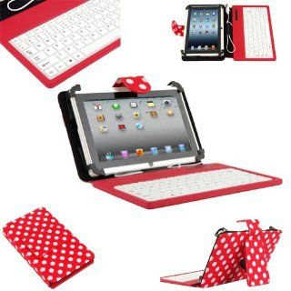 "Hot Pink and White Polka Dot USB Keyboard 7"" Folio Stand Leather Case Cover for Android Windows MID Tablet PC with OTG Cable Computers & Accessories"