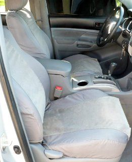 Exact Seat Covers, T915 C8/V7, Custom Exact Seat Covers Designed For 2005 2008 Toyota Tacoma TRD Front Sport Bucket Seats, Gray Waterproof Endura with Gray Foam Backed Velour Inserts Automotive