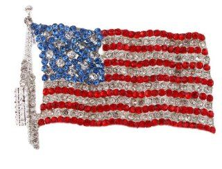 2 Pieces of Iced Out American Flag Brooch & Pin Jewelry