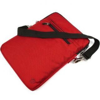Red Large Hydei Edition Nylon Sleeve Carrying Case Bag with Removable Shoulder Strap and Elegant Chrome Metal Latch for ASUS Eee 1215P MU17 BK and ASUS 1215N PU27 BK 1215N PU27 SL 1215B PU17 SL 12 inch Laptops Clothing