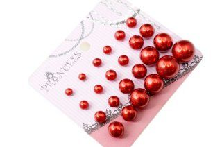 Red Color Bead Faux Pearl Stud Earrings, Wholesale lot of 12 Pairs, Mix Size Costume Jewelry For Girls Jewelry