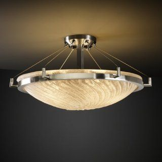 Justice Design GLA 9682 35 WHTW NCKL Veneto Luce   Six Light Round Semi Flush Mount with Ring, Glass Options WHTW Whitewash Glass Shade, Choose Finish Brushed Nickel Finish, Choose Lamping Option Standard Lamping   Ceiling Pendant Fixtures
