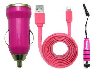 Emartbuy� Trio Pack For Apple Iphone 5   Hot Pink Bullet 1 Amp USB Car Charger + Hot Pink Metallic Mini Stylus + Hot Pink Flat Anti Tangle USB Sync / Transfer Data & Charger Cable Cell Phones & Accessories